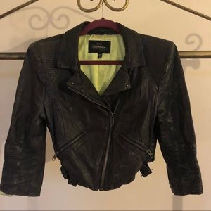 Bebe real leather navy moto jacket w/ lime lining
